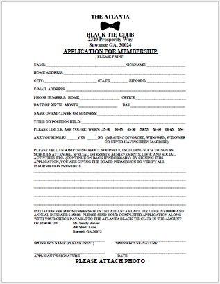 Membership Application - Atlanta Black Tie Club
